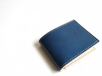 【受注生産品】二つ折り財布 〜栃木アニリン青×栃木サドル〜の画像