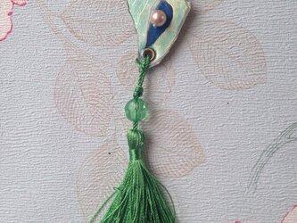 手描きのシェルのヌメ革タッセルバッグチャームの画像