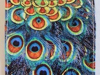 孔雀の蛇革カードケースの画像