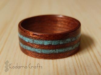 手作り木の指輪~サペリ×ターコイズ~の画像