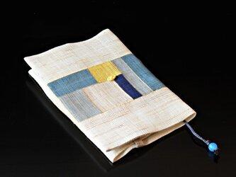 ポジャギブックカバー 新書サイズ 青の画像
