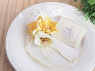 クリスマスローズコサージュ&ヘッドドレス 2way☆*:.クリーム christmas rose corsage creamの画像