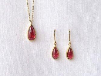 Garnet Pendant&pierced earringの画像