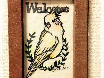 ミニ切り絵:ウェルカム  おかめインコの画像
