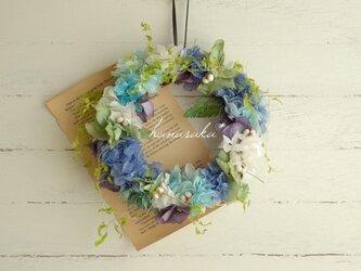梅雨色の紫陽花リース*の画像