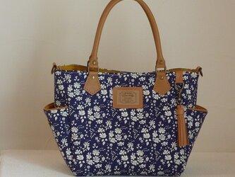 サイドポケットバッグS(リバティ帆布:カペル紺)の画像