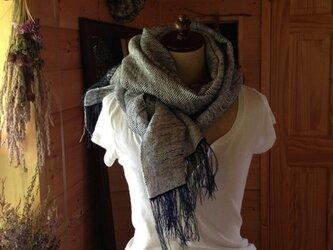手織り クマ笹和紙とリネンのストールの画像
