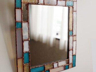ステンドグラスミラー(ターコイズ,big)の画像