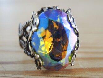 【ヴィンテージ】幻想的なオーロラストーンのリングの画像