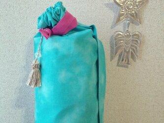 「かりんさま ご予約商品」ダイダイ柄ヨガマットケース ターコイズMサイズの画像