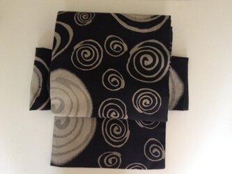 木綿普段帯 黒渦巻の画像