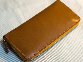 革のファスナー長財布 ブラウンxヌメの画像