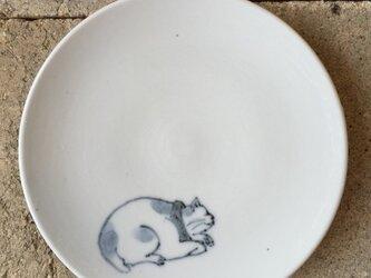 染付4寸猫皿 30の画像