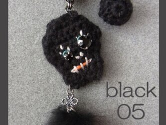 ★ドクロくんニットピアス05★ブラック・左目☆の画像