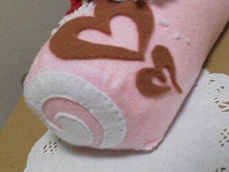 フェルトのデコレーションロールケーキ*クリスマスにの画像