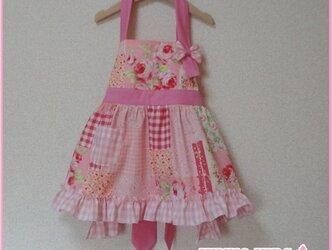 簡単子供エプロン*ピンク*S【三角巾付き】の画像