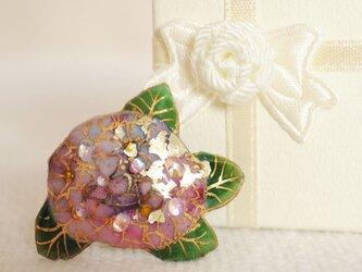 七宝焼ピンブローチ(ピンバッジ,ピンズ) アジサイ(紫)の画像