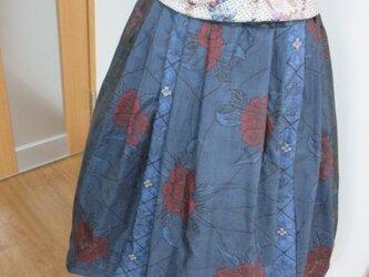 大島紬のパッチスカート 一点品の画像