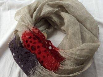 春夏用 リネンと羊毛のスヌードの画像