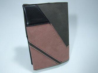 文庫本サイズ オールレザーブックカバー ピンクxグレーxブラックの画像