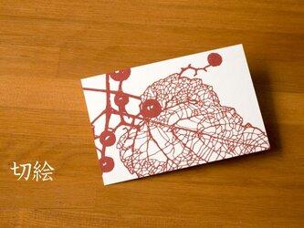 切り絵 はがき ポストカード 野葡萄 赤の色渋紙 1枚 処分特価の画像