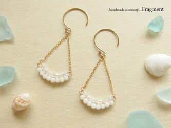 白珊瑚*ホワイトトパーズ 2lineピアスK14gf /再販の画像