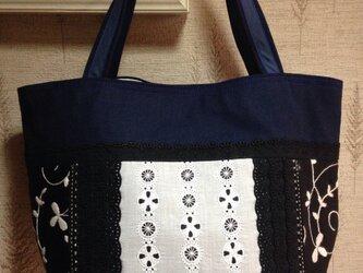 手毬模様刺繍 帆布 パッチワークトートバッグ3の画像