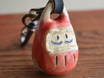 焼物の鈴キーホルダー(だるま)の画像