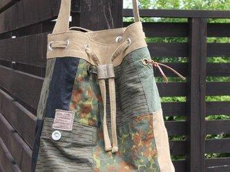 ミリタリーリメイク巾着バッグ パッチワーク017の画像