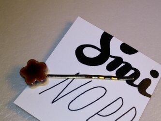 エスプレッソカラーのお花ヘアピンの画像