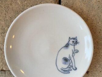 染付4寸猫皿 31の画像