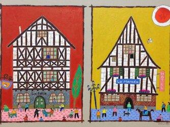 ブルゴーニュの二つの木組みの家の画像