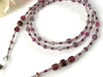 チェコガラスメガネチェーン 赤紫の画像