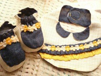 イエローとホワイトの織柄&デニムカラースタイセット 女の子用の画像