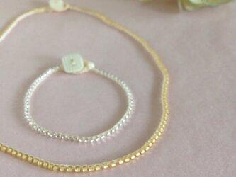 beads bracelet double (silver)の画像