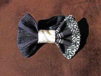 博多織蝶ネクタイ・バイカラー(ブラック・BT-015)の画像