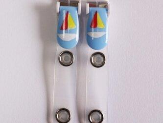 手描きバンドクリップ2個(ヨット/ブルー) ⭐︎移動ポケットなどの画像