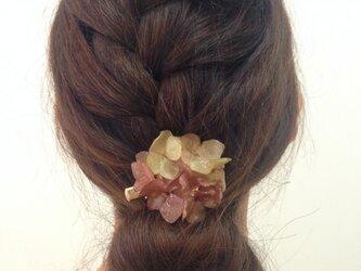 本物のアジサイの花で作った髪飾り(茶系)の画像