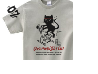 フィットネスバイクと猫 150.160.(女性M.L) S~XL  Tシャツ【受注生産品】の画像