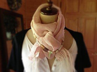 手織りリネンストール サーモンピンクの画像
