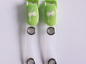 手描きバンドクリップ2個(モンシロチョウ/グリーン)移動ポケットの画像