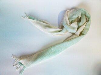 手織 コットンストール ミントグリーン×生成グラデーション 巾30cmの画像