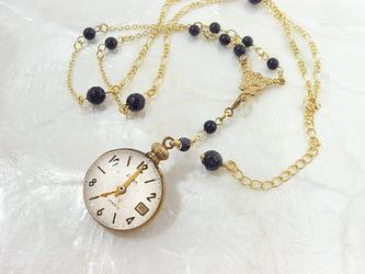 懐中時計風首飾り(ゴールド)の画像