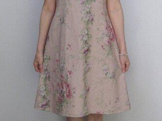 花柄リネンワンピース~ファスナー付き~の画像