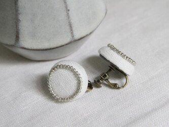 Boutons recouverts en lin(Blanc)の画像