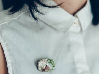 bouquet刺繍ブローチ greenの画像