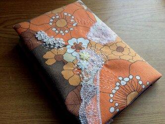 昔の外国布にちくちくステッチ - 文庫本サイズブックカバーの画像