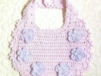 すみれのお花のかぎ編みフリルスタイ   すみれピンクの画像