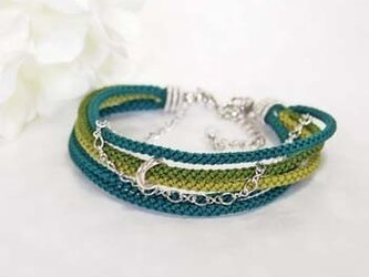 ●kono (green)絹組紐5連ブレスの画像