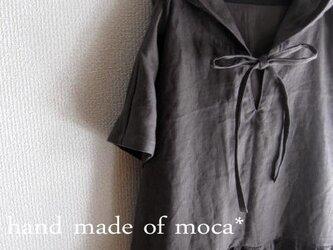 【受注製作】W45半袖リネン前位ヒモリボンフード付きワンピース★チャコールグレーの画像